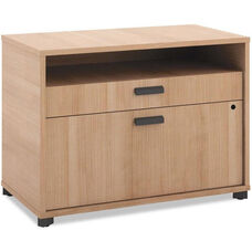 Basyx® Manage Series Laminate File Center with Open Shelf and Two Locking Drawers - 30