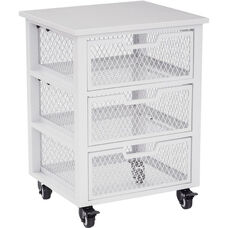 OSP Designs Garret 3 Drawer Rolling Cart with Wood Top - White