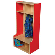 Strawberry Red 2-Section Offset Locker with Two Coat Hooks in Each Section - Assembled - 24