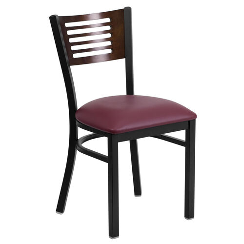 Our Black Decorative Slat Back Metal Restaurant Chair with Walnut Wood Back & Burgundy Vinyl Seat is on sale now.