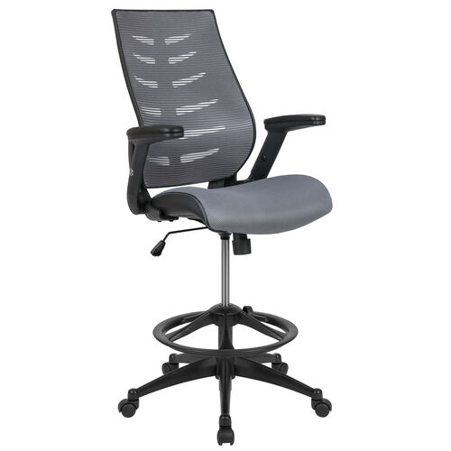 Our High Back Dark Gray Mesh Spine-Back Ergonomic Drafting Chair with Adjustable Foot Ring and Adjustable Flip-Up Arms is on sale now.