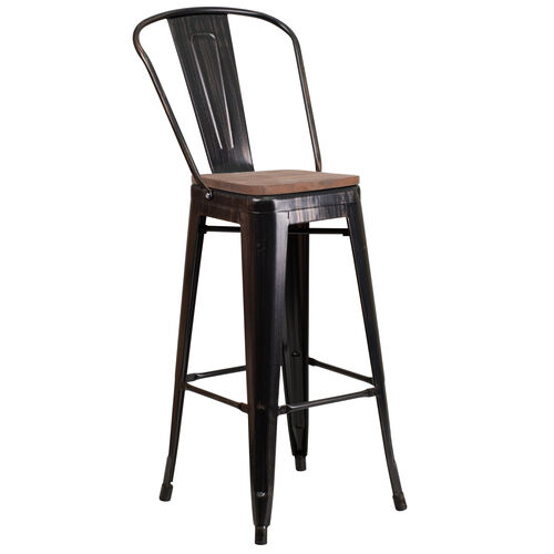"Our 30"" High Black-Antique Gold Metal Barstool with Back and Wood Seat is on sale now."