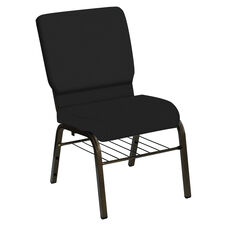 HERCULES Series 18.5''W Church Chair in E-Z Matrid Black Vinyl with Book Rack - Gold Vein Frame