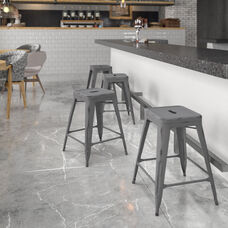 """Commercial Grade 24"""" High Backless Distressed Silver Gray Metal Indoor-Outdoor Counter Height Stool"""