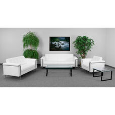 """HERCULES Lesley Series Living Room Set in White LeatherSoft with <span style=""""color:#0000CD;"""">Free </span> Glass Coffee and End Table"""