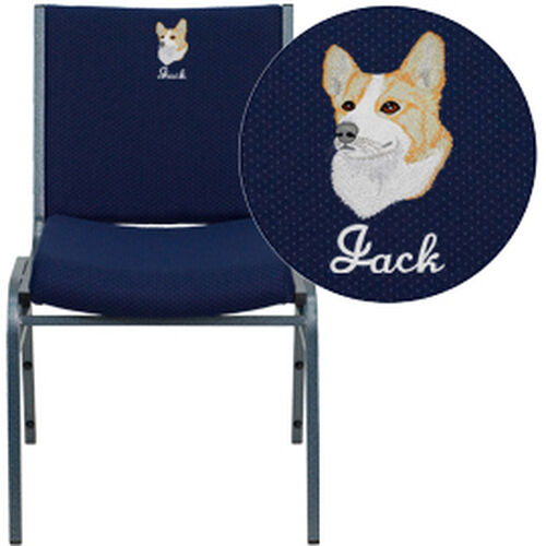 Our Embroidered HERCULES Series Heavy Duty Navy Blue Dot Fabric Stack Chair is on sale now.