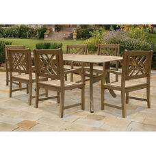 Renaissance Outdoor 7 Piece Hand-Scraped Wood Dining Set with Table and 6 Herringbone Back Armchairs