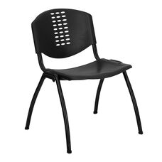 HERCULES Series 880 lb. Capacity Black Plastic Stack Chair with Black Frame