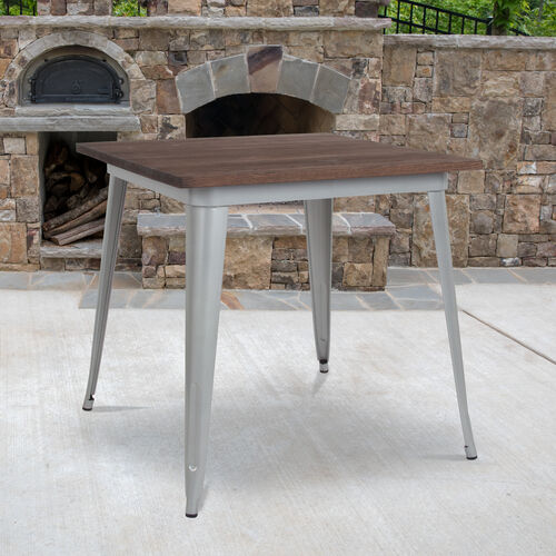 """Our 31.5"""" Square Silver Metal Indoor Table with Walnut Rustic Wood Top is on sale now."""