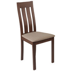 Milton Walnut Finish Wood Dining Chair with Vertical Slat Back and Magnolia Brown Fabric Seat