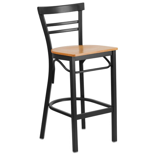 Our HERCULES Series Black Two-Slat Ladder Back Metal Restaurant Barstool - Natural Wood Seat is on sale now.