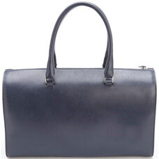 RFID Blocking Carry On Travel Duffle Barrel Luggage Bag- Saffiano Genuine Leather - Blue