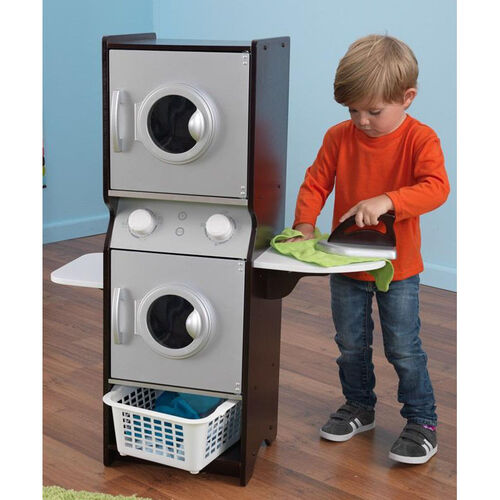 Kids Wooden Make-Believe Washer and Dyer Laundry Play Set - Espresso