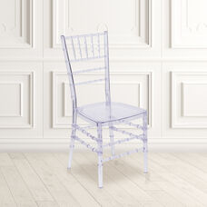 """Flash Elegance Crystal Ice Blue Stacking Chiavari Chair with <span style=""""color:#0000CD;"""">Free </span> Cushion"""