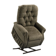 Two Way Reclining Power Lift Chair with Matching Arm and Headrest Covers - Encounter Mushroom Fabric