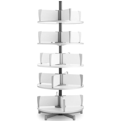 Moll 5 -Tier Rotary Floor Stand Binder Carousel - White