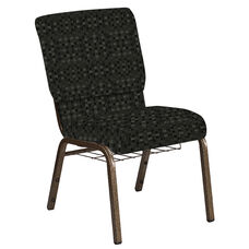 18.5''W Church Chair in Empire Pewter Fabric with Book Rack - Gold Vein Frame