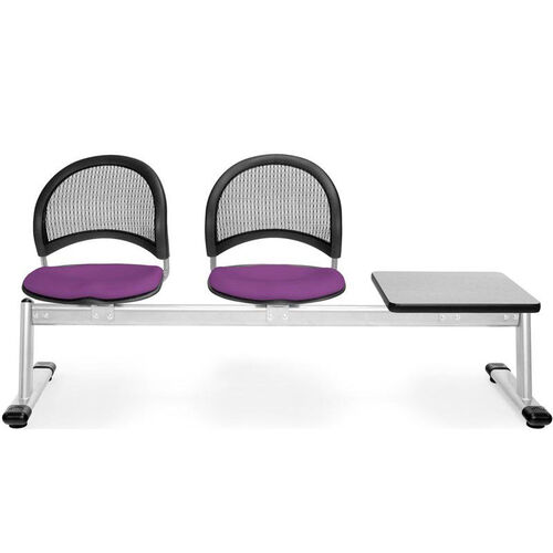 Our Moon 3-Beam Seating with 2 Plum Fabric Seats and 1 Table - Gray Nebula Finish is on sale now.