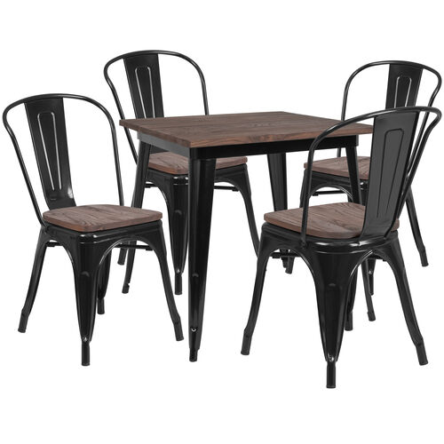 """31.5"""" Square Metal Table Set with Wood Top and 4 Stack Chairs"""