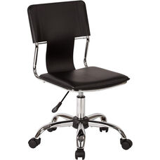 Ave Six Carina Vinyl Task Chair with Adjustable Seat Height and Chrome Base - Black