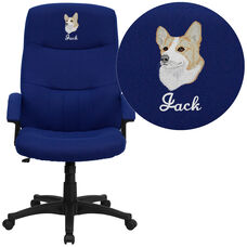 Embroidered High Back Navy Blue Fabric Executive Swivel Office Chair with Two Line Horizontal Stitch Back & Arms