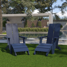 Set of 2 Sawyer Modern All-Weather Poly Resin Wood Adirondack Chairs with Foot Restsin Navy