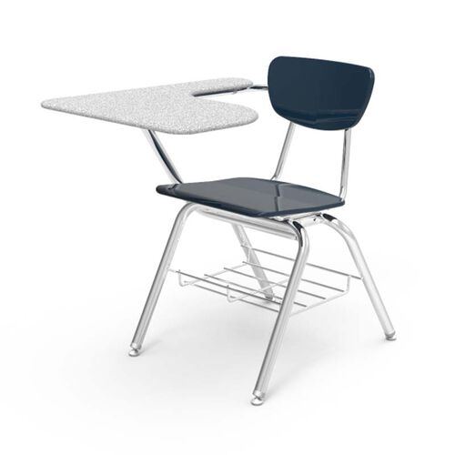 Our 3000 Series Combo Gray Nebula Hard Plastic Tablet Arm Desk with Navy Seat and Chrome Frame - 20