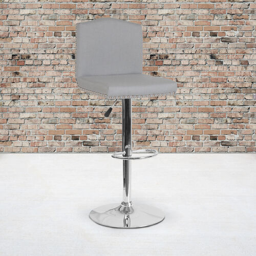 Our Bellagio Contemporary Adjustable Height Barstool with Accent Nail Trim in Light Gray Fabric is on sale now.