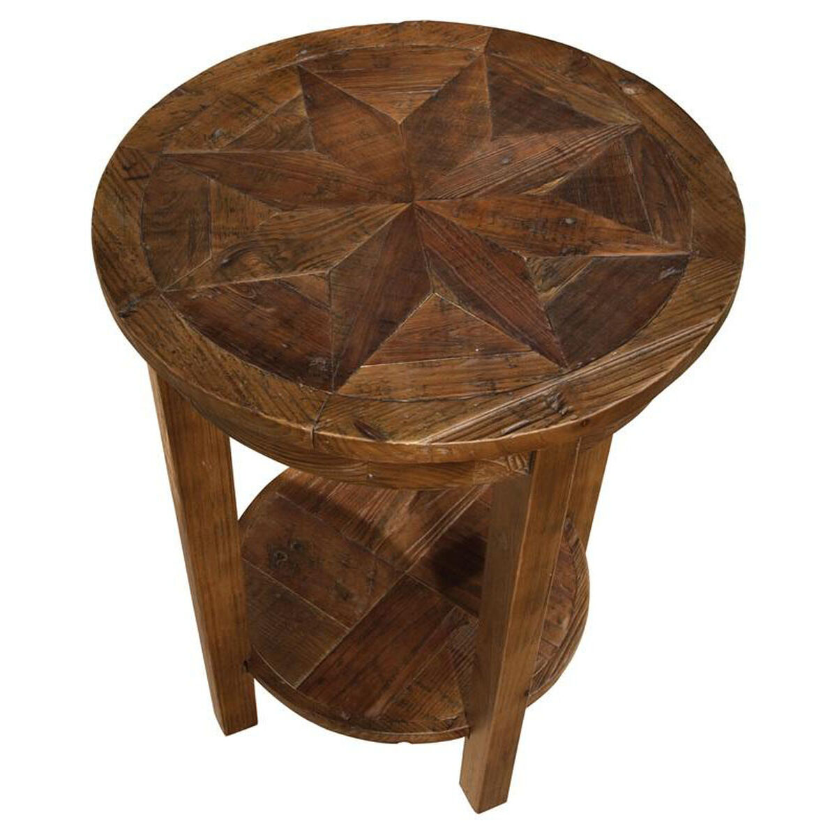 Our Revive Reclaimed Wood 20 Diameter Round End Table With Display Shelf Natural