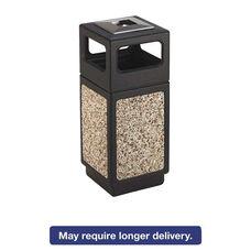 Safco® Canmeleon Ash/Trash Receptacle - Square - Aggregate/Polyethylene - 15gal - Black