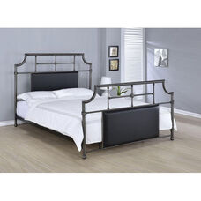 Xava Metal Bed with Black Upholstered Inserts - Full - Antique Black