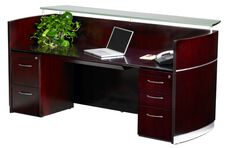 Napoli Reception Station with One Box Box File Pedestal and One File File Pedestals - Sierra Cherry on Cherry Veneer
