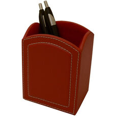 Colors Faux Leather Pencil Cup - Rossa Red