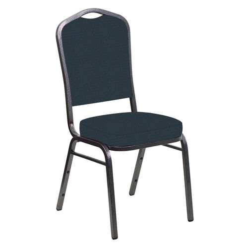 Our Embroidered Crown Back Banquet Chair in Venus Blue Azure Fabric - Silver Vein Frame is on sale now.