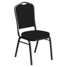 Crown Back Banquet Chair in E-Z Oxen Black Vinyl - Gold Vein Frame