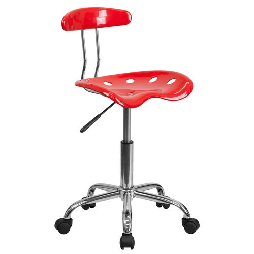 Our Vibrant Red and Chrome Swivel Task Office Chair with Tractor Seat is on sale now.