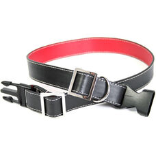 Collar for Large to Extra Large Dogs - Genuine Leather - Black and Red