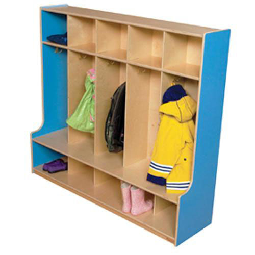 Blueberry 5-Section Seat Locker with Two Coat Hooks in Each Section - Assembled - 54