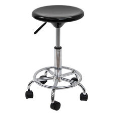 Height Adjustable Studio Stool with Chrome Footring and 5 Casters - Black