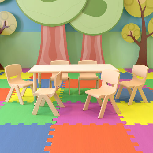 """23.625""""W x 47.25""""L Rectangular Natural Plastic Height Adjustable Activity Table Set with 6 Chairs"""