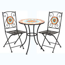 Mosaic and Iron Bistro Table Set with 2 Matching Chairs