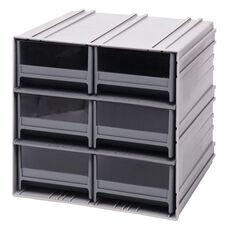 Interlocking Storage Cabinet with 6 Drawers - Gray