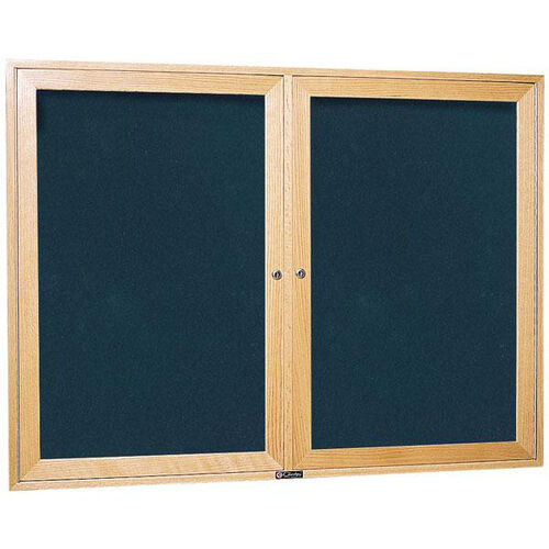 Our 3080 Series Wooden Frame Bulletin Board Cabinet with 2 Locking Tempered Glass Doors - 48