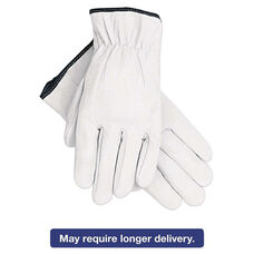 Memphis™ Grain Goatskin Driver Gloves - White - Large - 12 Pairs