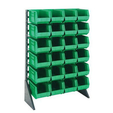 Single Sided Rail System with 24 Bins - Green