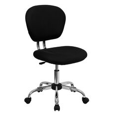 Mid-Back Black Mesh Padded Swivel Task Office Chair with Chrome Base