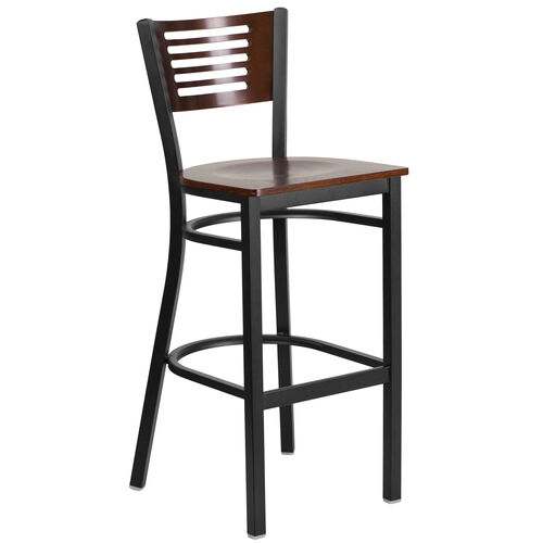 Our Black Decorative Slat Back Metal Restaurant Barstool with Walnut Wood Back & Seat is on sale now.