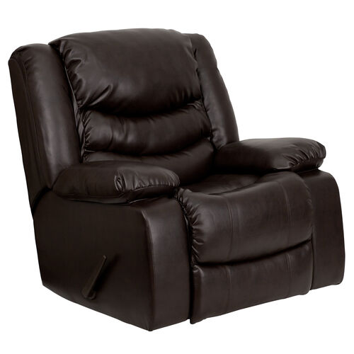 Our Plush Brown Leather Lever Rocker Recliner with Padded Arms is on sale now.