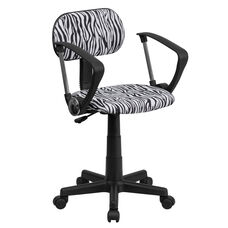 Black and White Zebra Print Swivel Task Chair with Arms