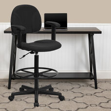 Black Patterned Fabric Drafting Chair with Adjustable Arms (Cylinders: 22.5